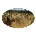 Herding Cattle Sticker (Oval 10 pk)