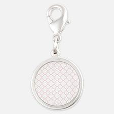 Pink, Baby: Quatrefoil Clover Silver Round Charm