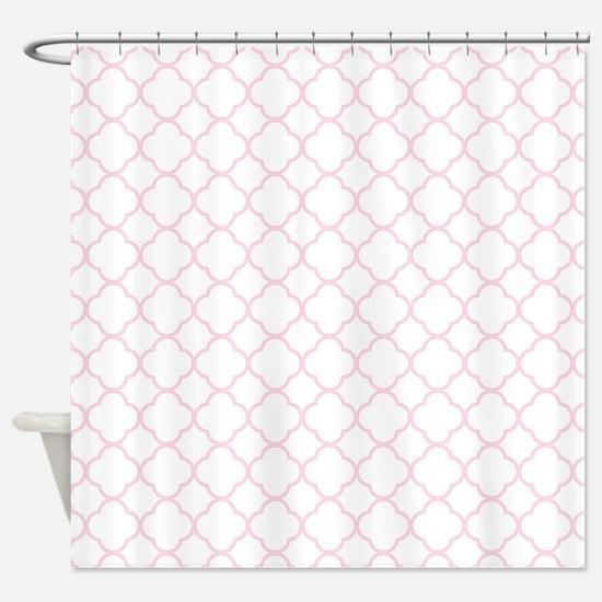 Pink, Baby: Quatrefoil Clover Patte Shower Curtain