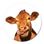 Selfie Cow (Transparent) Round Car Magnet