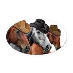 Cowboy Horses Oval Car Magnet