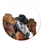 Cowboy Horses Round Car Magnet