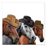 Cowboy Horses Square Car Magnet 3