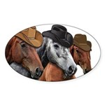 Cowboy Horses Sticker (Oval)