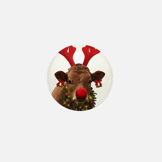 Christmas Cow Mini Button