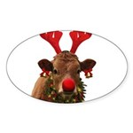 Christmas Cow Sticker (Oval)