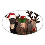 Santa & Friends Sticker (Oval)