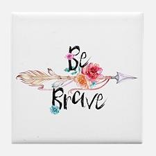 Be Brave Floral Arrow Tile Coaster