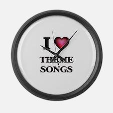 I love Theme Songs Large Wall Clock