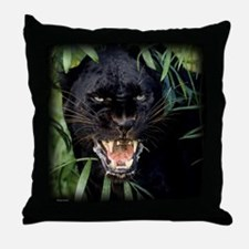 Snarling Black Panther Throw Pillow