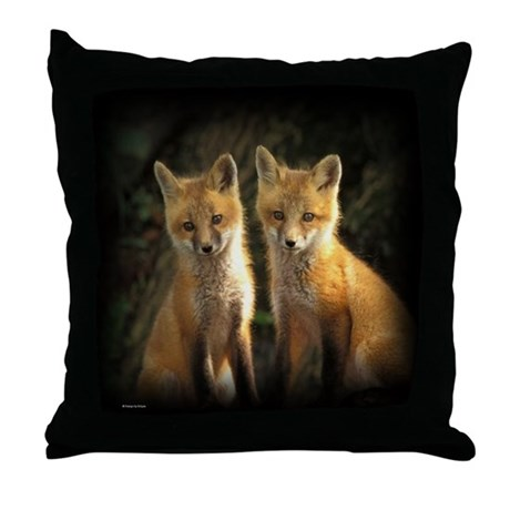 Red Fox Kits Throw Pillow