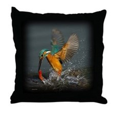 Colorful Kingfisher in Action Throw Pillow