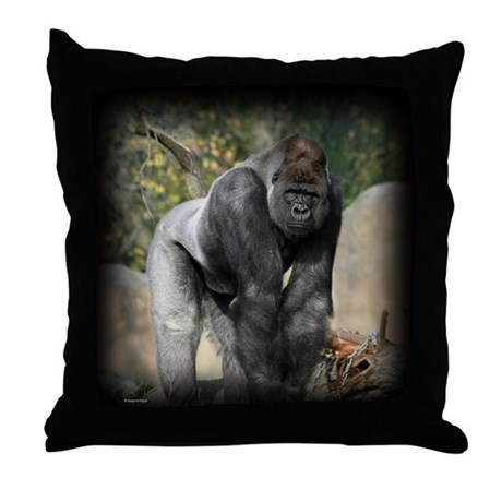 Silver Back Gorilla Throw Pillow