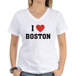 I Love Boston Women's V-Neck T-Shirt