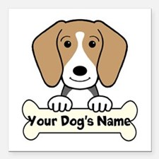 """Personalized Beagle Square Car Magnet 3"""" x 3"""""""