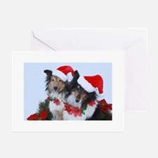 Christmas Santa Shelties Greeting Cards