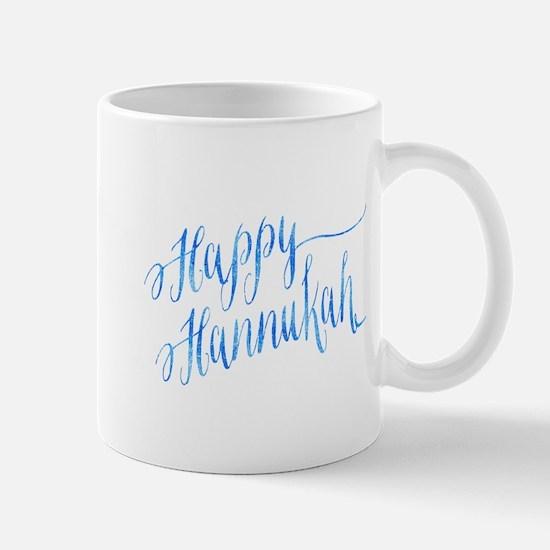 Happy Hannukah Chanukah Hanukkah Blue Faux Fo Mugs
