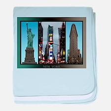 New York Postcards NYC Landmarks Souv baby blanket