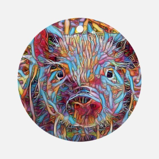 Cool Pig Round Ornament