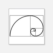 """Fibonacci Spiral Square Sticker 3"""" x 3"""""""