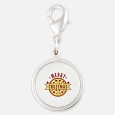 Merry Crustmas Silver Round Charm