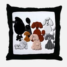 Poodle Pack Throw Pillow