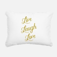 Live Laugh Love Gold Fau Rectangular Canvas Pillow