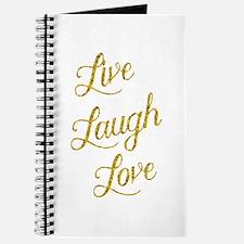 Live Laugh Love Gold Faux Foil Glittery Me Journal