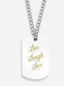 Live Laugh Love Gold Faux Foil Glittery M Dog Tags