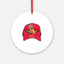 President Trump 45 Round Ornament