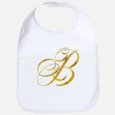 Monogram B Gold Faux Foil Monograms Metal Baby Bib