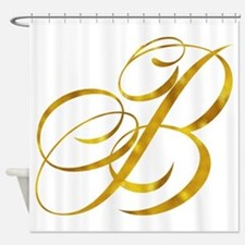 Monogram B Gold Faux Foil Monograms Shower Curtain