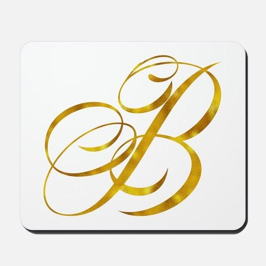 Monogram B Gold Faux Foil Monograms Meta Mousepad