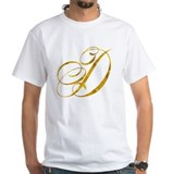 Metallic gold Mens White T-shirts
