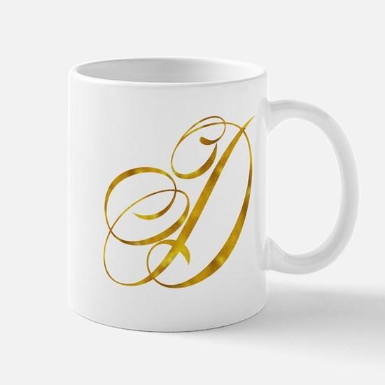 Monogram D Gold Faux Foil Monograms Metallic Mugs