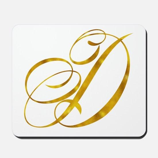 Monogram D Gold Faux Foil Monograms Meta Mousepad
