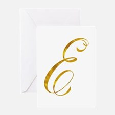 Monogram E Gold Faux Foil Monograms Greeting Cards