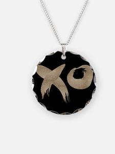 brushstroke black gold XOXO Necklace