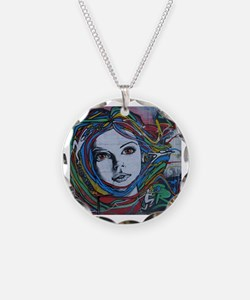 Graffiti Girl with Rainbow H Necklace