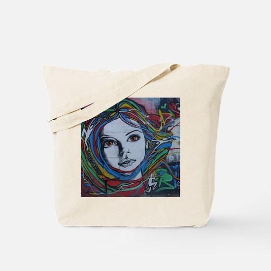 Graffiti Girl with Rainbow Hair Tote Bag