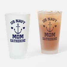 US Navy Mom Personalized Drinking Glass