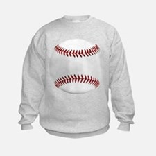 White Round Baseball Red Stitching Sweatshirt