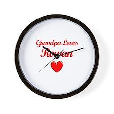 Grandpa Loves Rowan Wall Clock