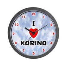 I Love Karina (Red/Blk) Valentine Wall Clock