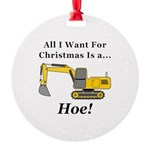 Christmas Hoe Round Ornament