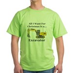 Christmas Excavator Green T-Shirt