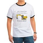 Christmas Excavator Ringer T