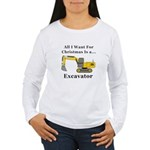 Christmas Excavator Women's Long Sleeve T-Shirt
