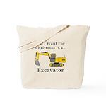 Christmas Excavator Tote Bag