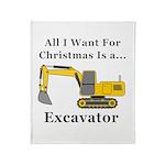 Christmas Excavator Throw Blanket